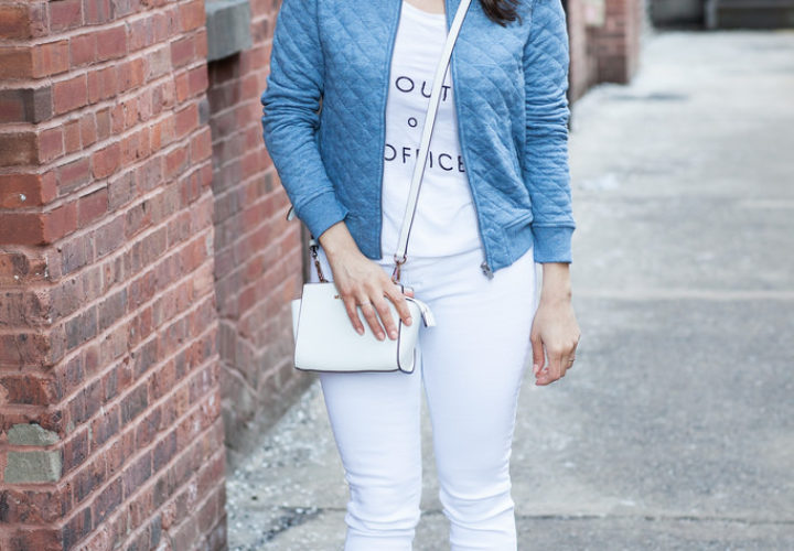 Casual Weekend | White + Bomber Jacket