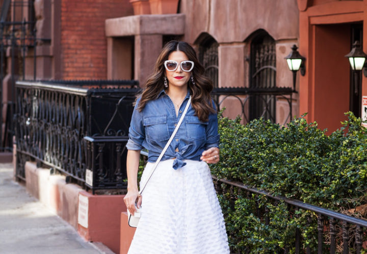 Spring Outfit | White Skirt + Denim Top