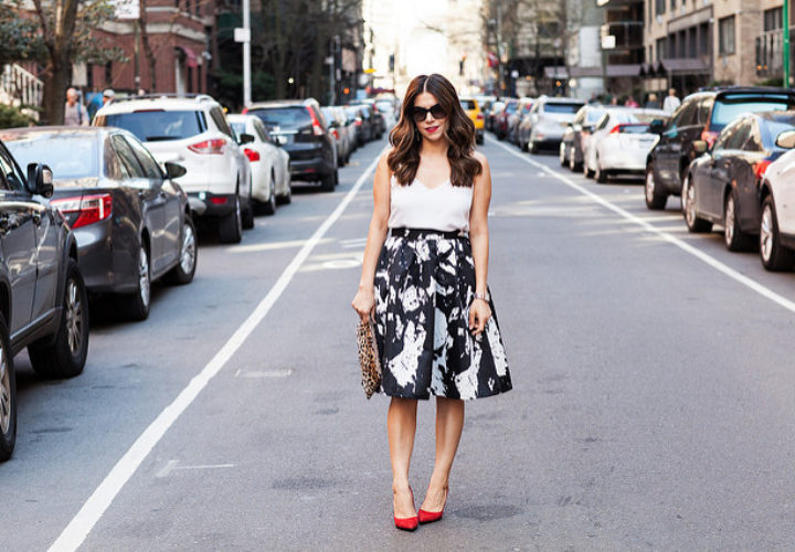 Black and White Skirt + Red Heels