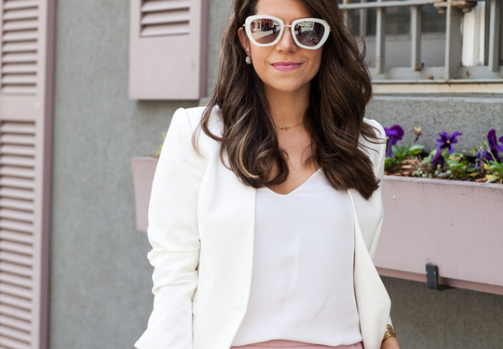 What to Wear to Work | Pink + White