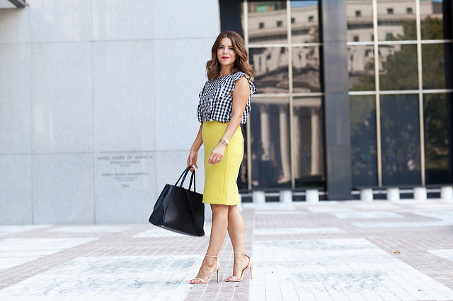 a84d006ff7 What to Wear to Work | Gingham + Pencil Skirt - Olivia Jeanette
