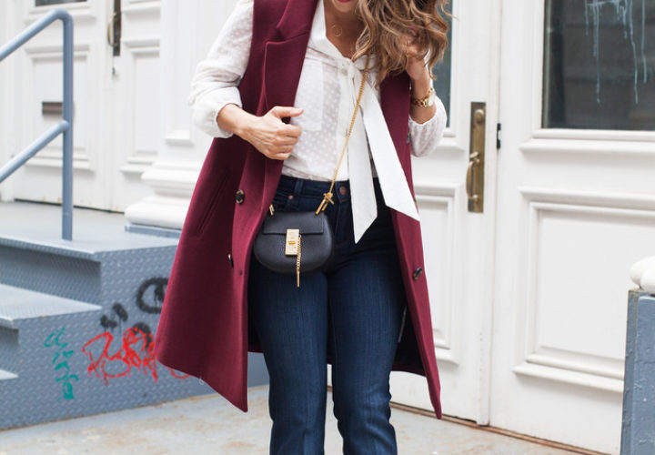 Casual Weekend | Flared Denim + Burgundy Coat