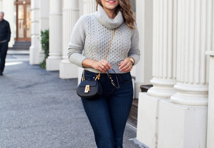 Cropped Sweater + Flared Denim