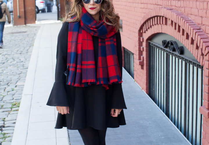 Wearing Black with a Pop of Plaid