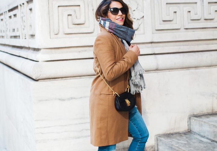 Casual Look | Camel Coat + Distressed Denim