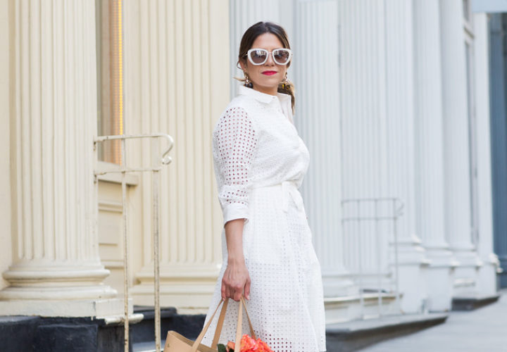 What to Wear to Work | White Eyelet Dress