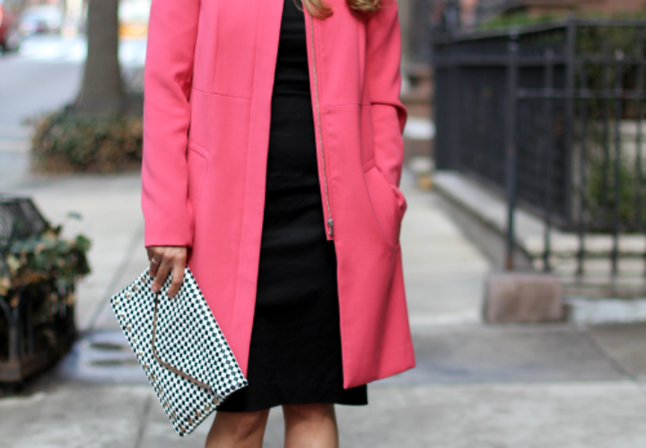 Spring Weekend | Pink Coat + Black Dress