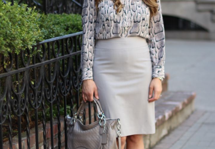 What to Wear to Work | Snakeskin + Grey Pencil Skirt