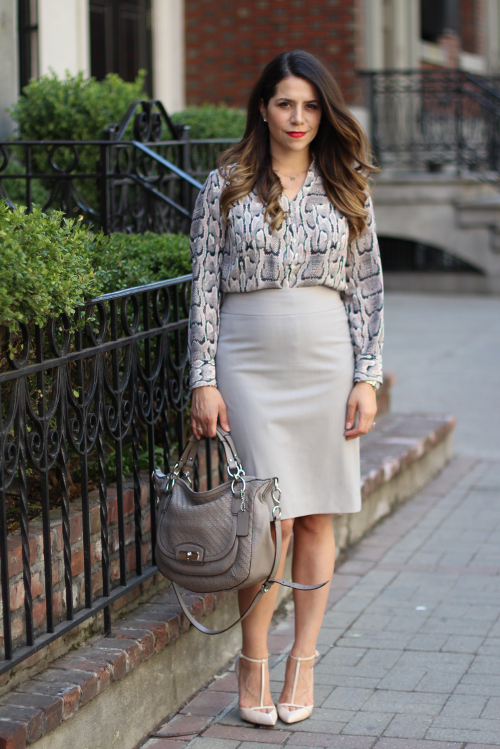 What To Wear To Work Snakeskin Grey Pencil Skirt