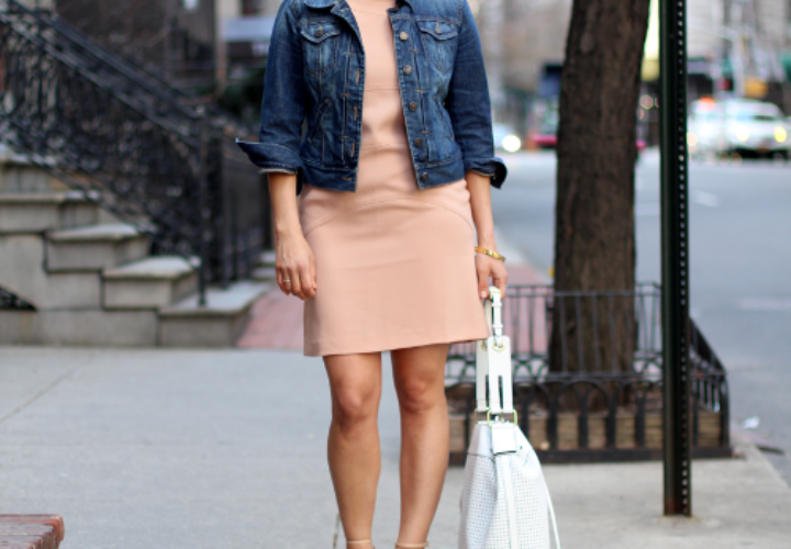 Sunday Brunch | Blush Dress + Denim Jacket