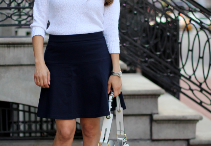 What to Wear to Work | White Sweater + Navy A-line Skirt