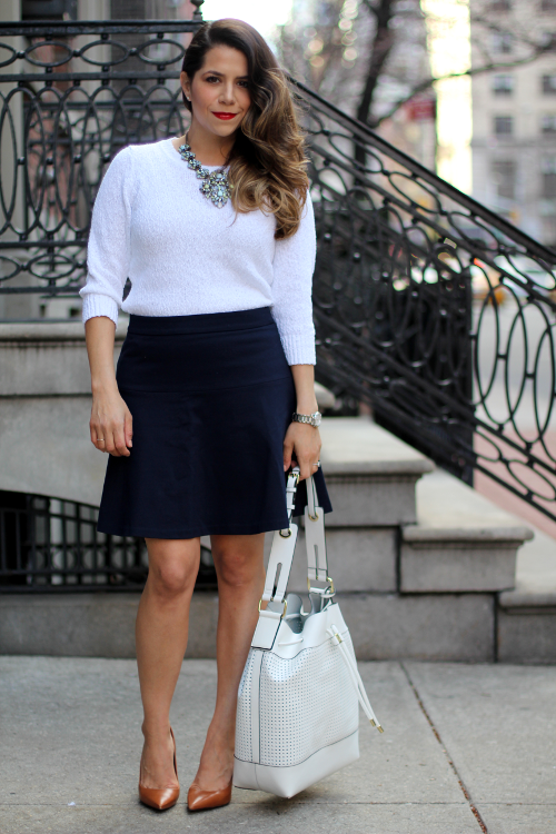 What To Wear To Work White Sweater Navy A Line Skirt