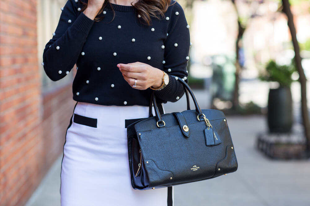 Worth New York Black Pearl Sweater White Pencil Skirt Patent Leather Heels Christian Louboutin Black Coach Bag What to Wear to Work Work wear Corporate Catwalk