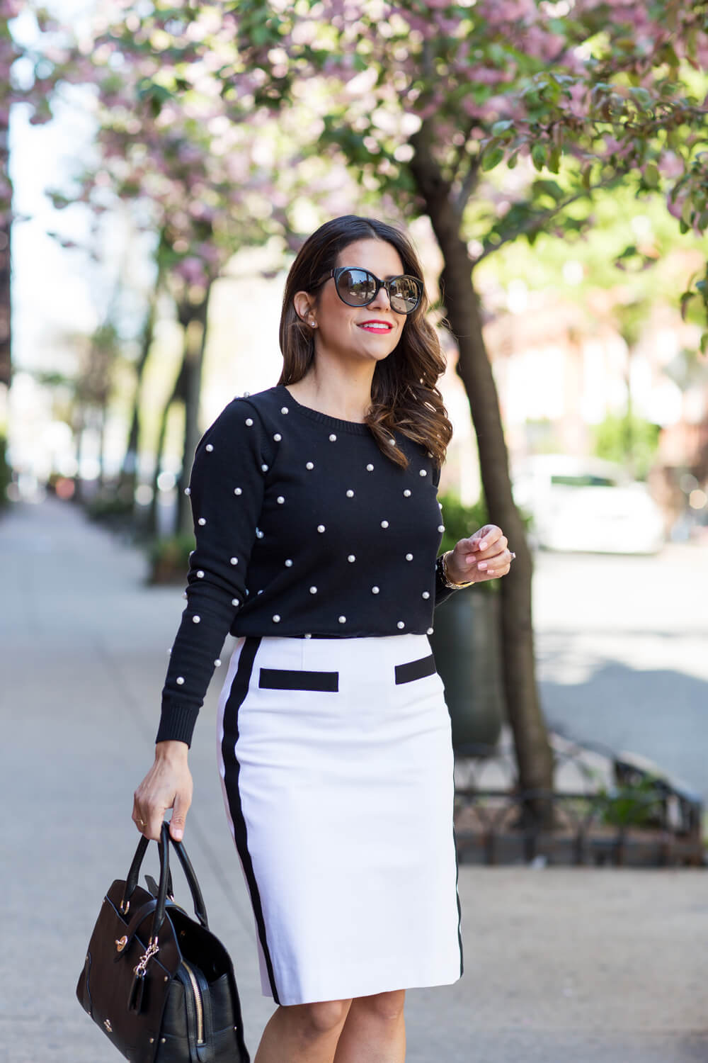 Worth New York Black White Work Wear What to Wear to Work in the Fall White skirt Pearl Black Sweater Black Patent Heels Corporate Catwalk NYC New York Fashion Blogger8