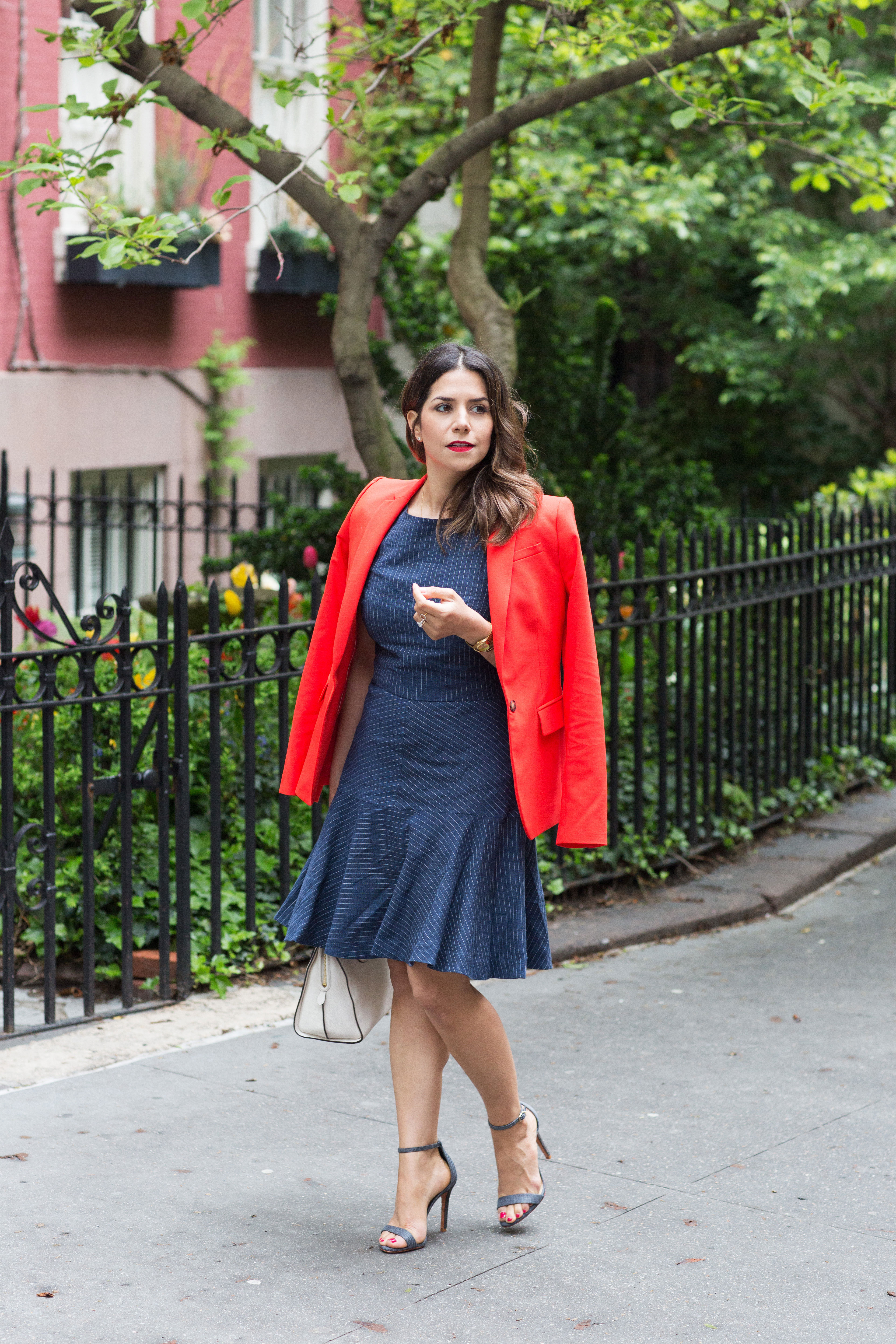 workwear-outfit-for-spring-wearing-Banana-Republic-Red-Blazer-with-denim-dress-and-white-coach-purse1