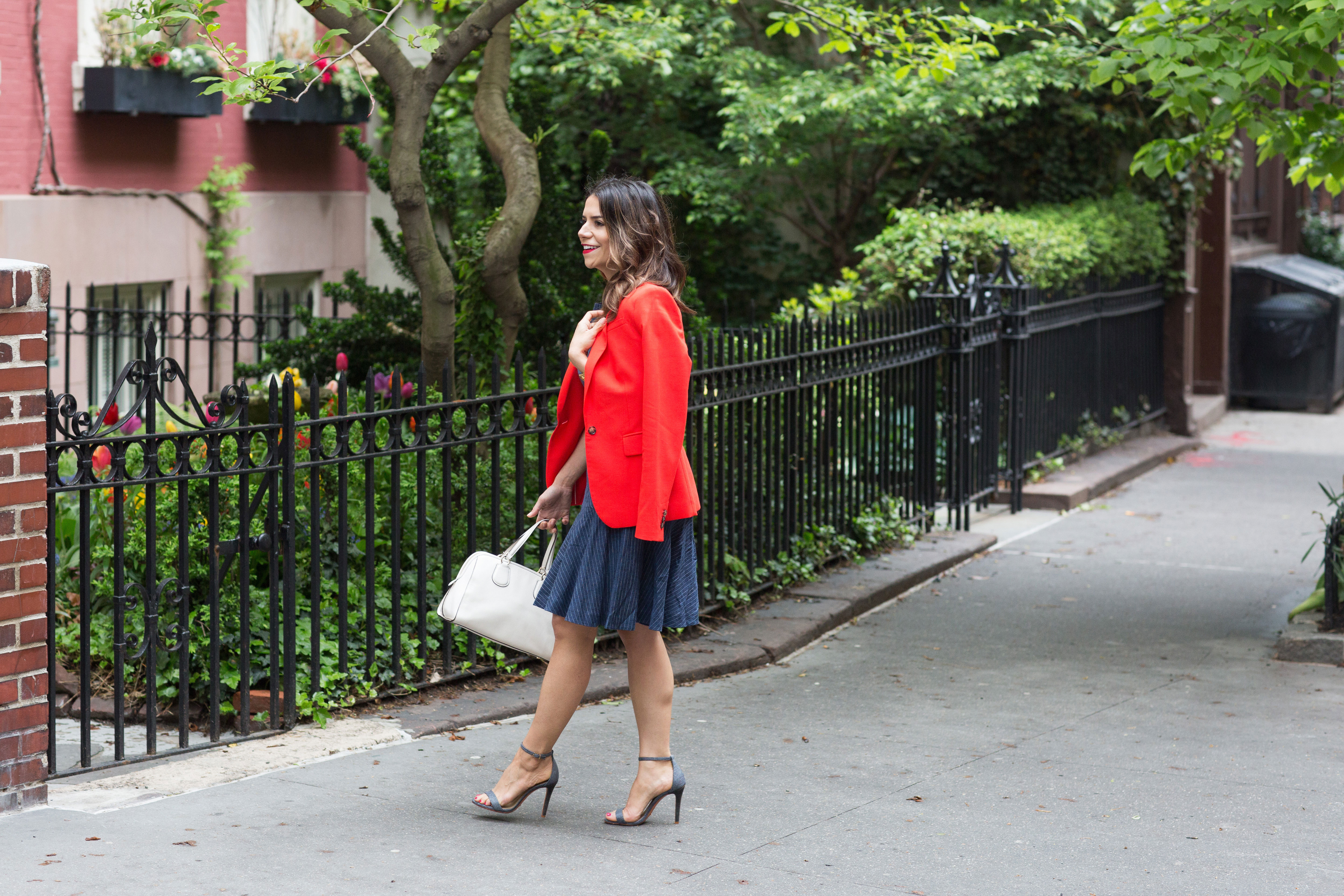 workwear-outfit-for-spring-wearing-Banana-Republic-Red-Blazer-with-denim-dress-and-white-coach-purse2