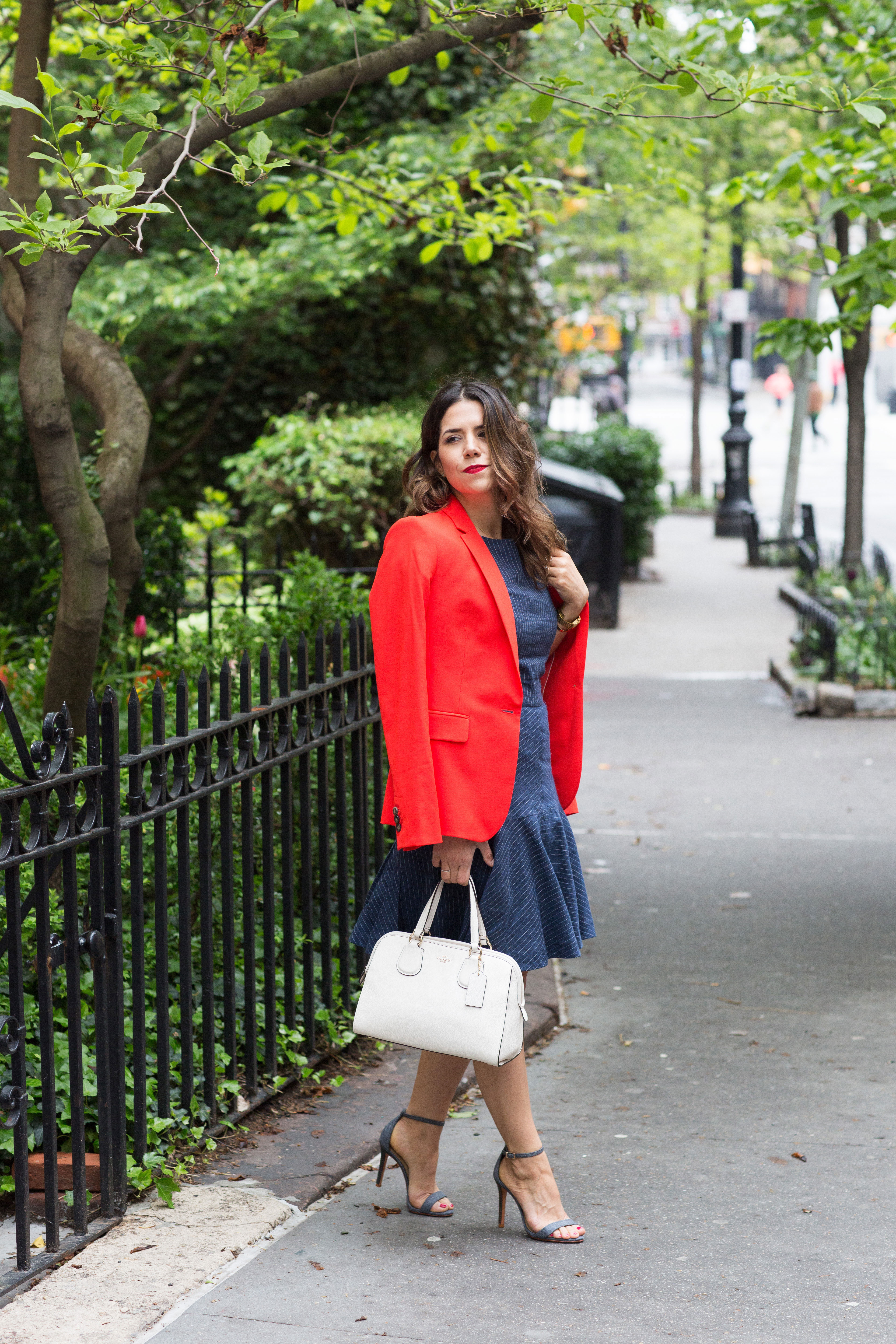 workwear-outfit-for-spring-wearing-Banana-Republic-Red-Blazer-with-denim-dress-and-white-coach-purse3