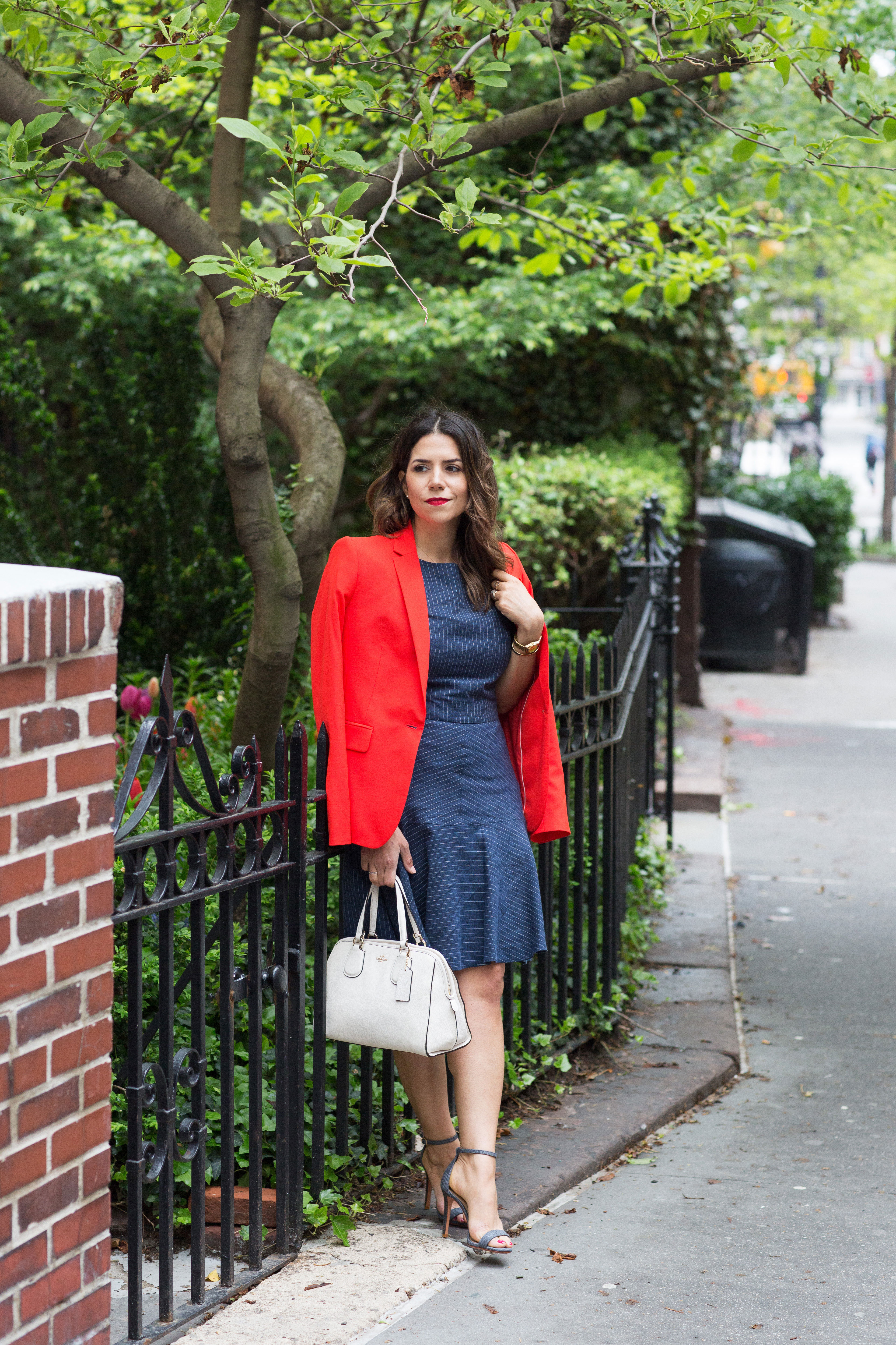 workwear-outfit-for-spring-wearing-Banana-Republic-Red-Blazer-with-denim-dress-and-white-coach-purse4