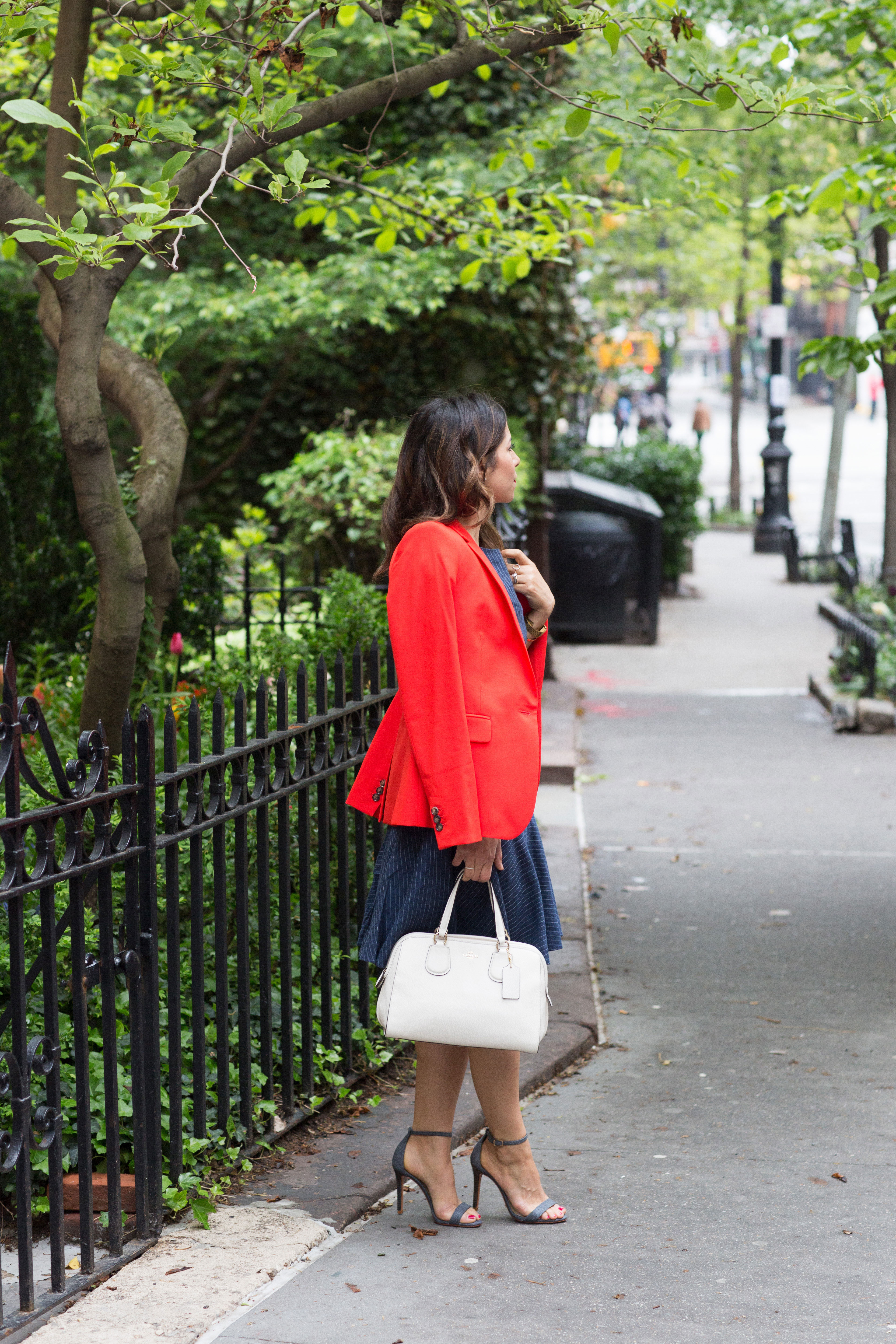 workwear-outfit-for-spring-wearing-Banana-Republic-Red-Blazer-with-denim-dress-and-white-coach-purse5