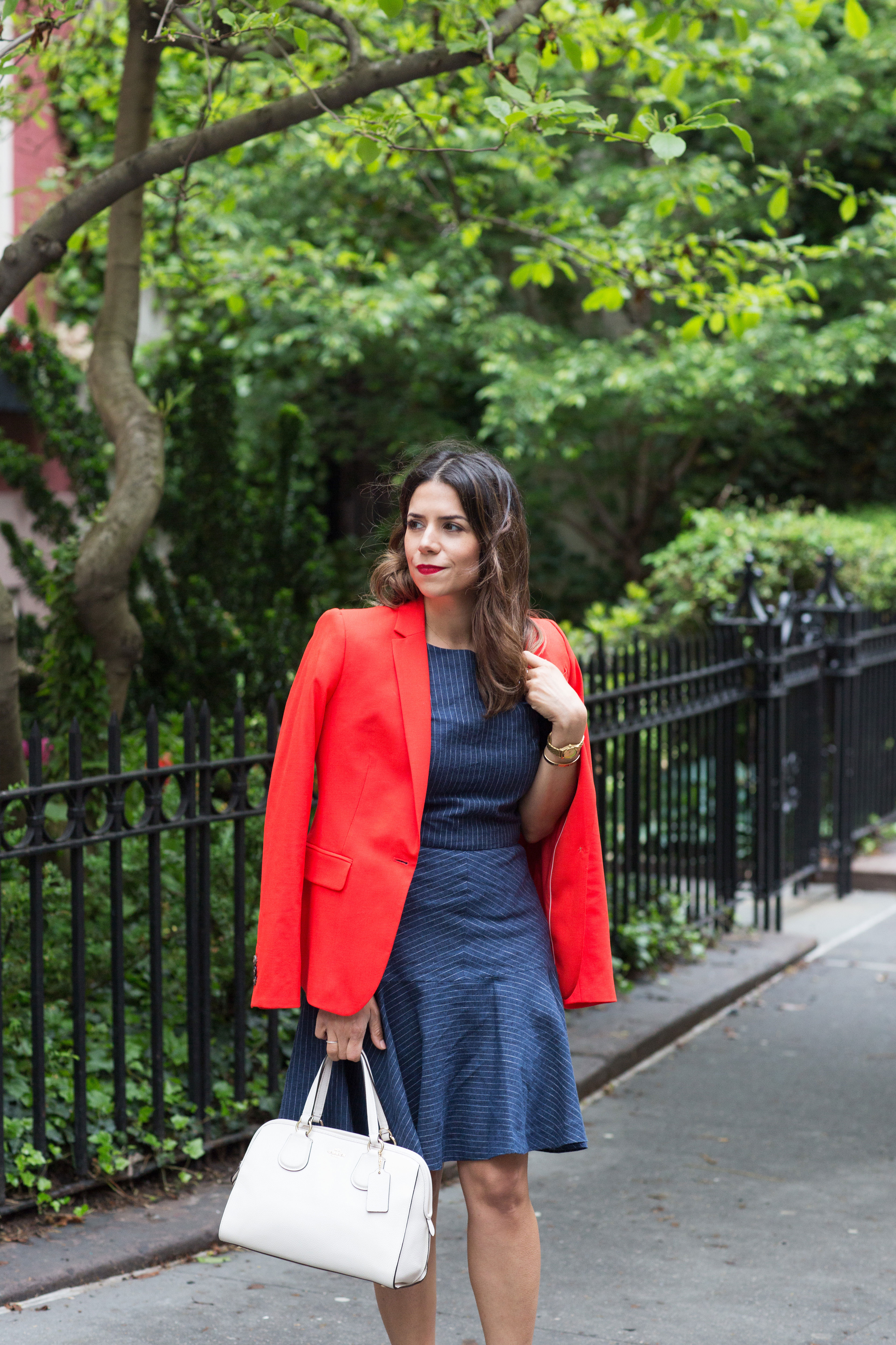 workwear-outfit-for-spring-wearing-Banana-Republic-Red-Blazer-with-denim-dress-and-white-coach-purse6