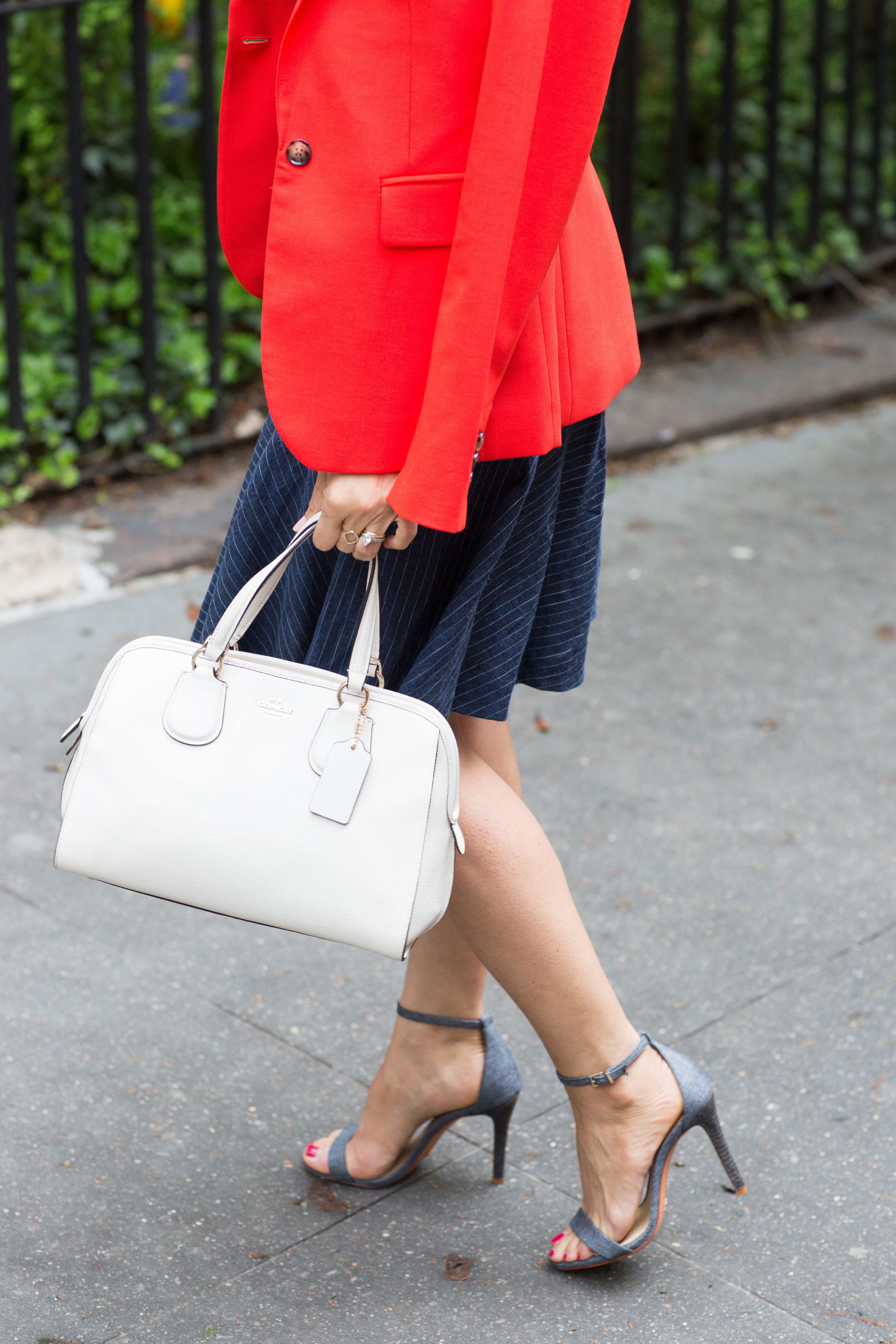 workwear-outfit-for-spring-wearing-Banana-Republic-Red-Blazer-with-denim-dress-and-white-coach-purse7