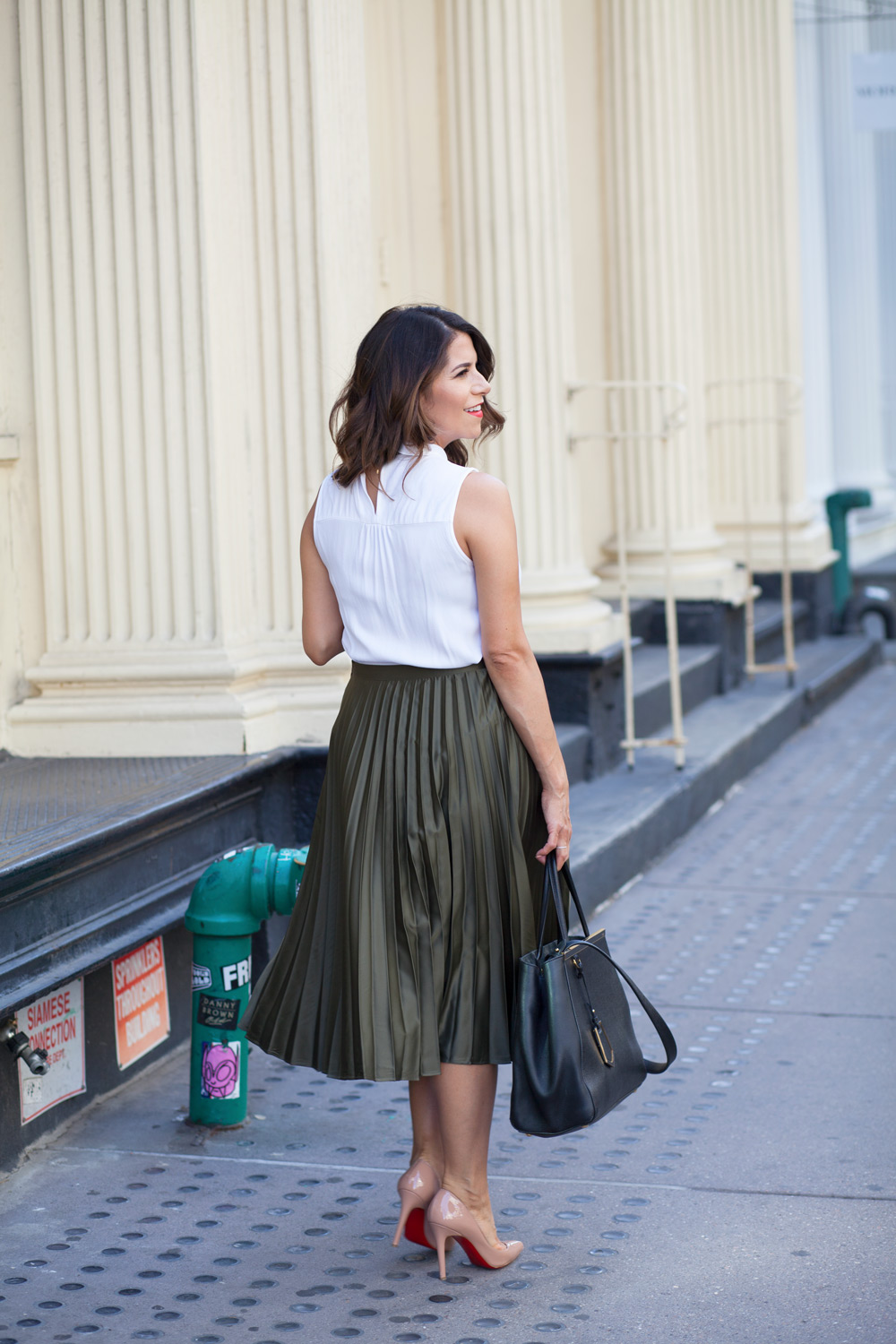 olive pleated midi skirt white peter pan collar blouse bow top fendi bag nude christian louboutin pigalle heels summer style work wear corporate catwalk