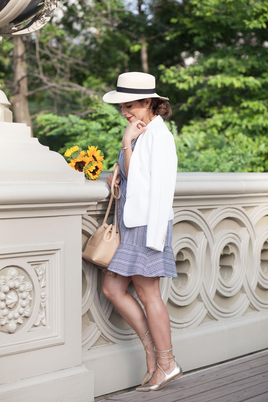 white blazer plaid summer dress corporate catwalk