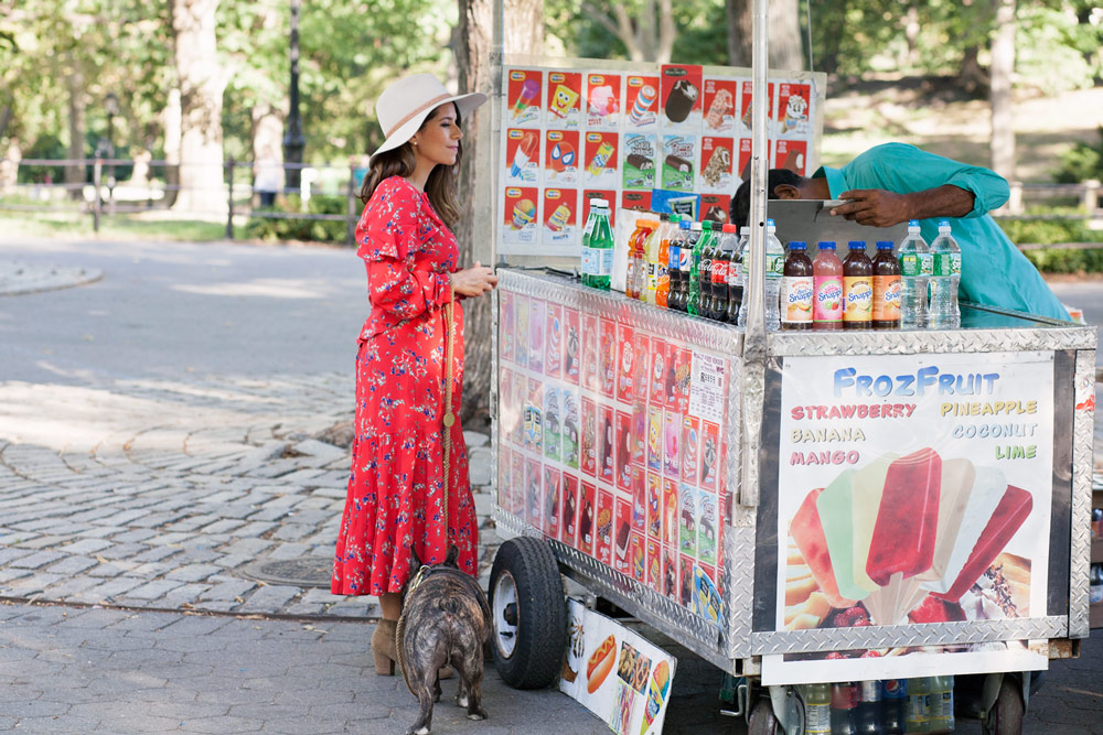 Balancing family and friends busy women Central park red floral dress casual outfit french bulldog fashion blogger lifestyle blogger new york city NYC blogger2