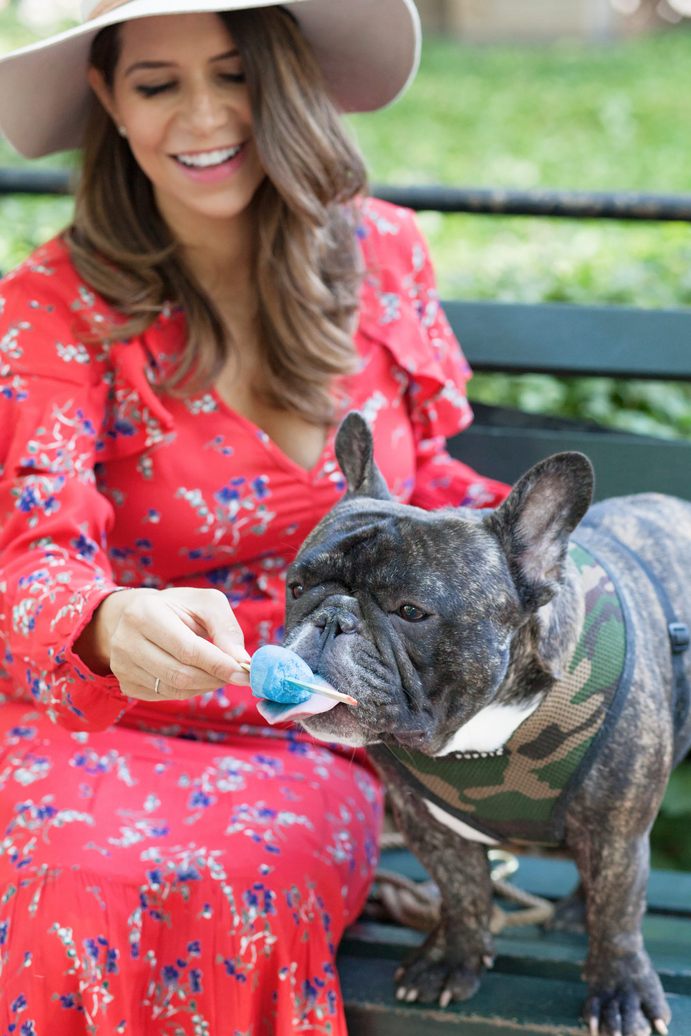 Balancing family and friends busy women Central park red floral dress casual outfit french bulldog fashion blogger lifestyle blogger new york city NYC blogger3