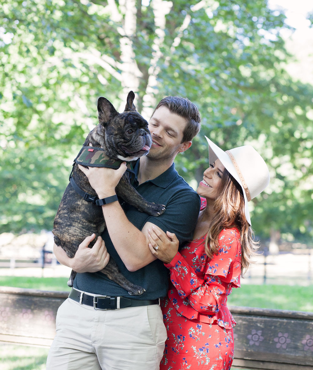 Balancing family and friends busy women Central park red floral dress casual outfit french bulldog fashion blogger lifestyle blogger new york city NYC blogger