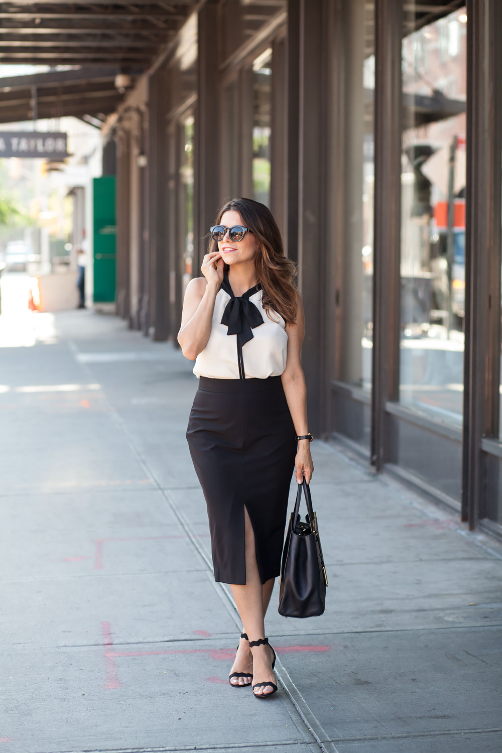 Black-pencil-skirt-neck-tie-bow-blouse-ModCloth-workwear-outfits-scalloped-black-heels-black-fendi-tote-what-to-wear-to-work-corporate-catwalk-nyc-new-york-fashion-blogger-copy1
