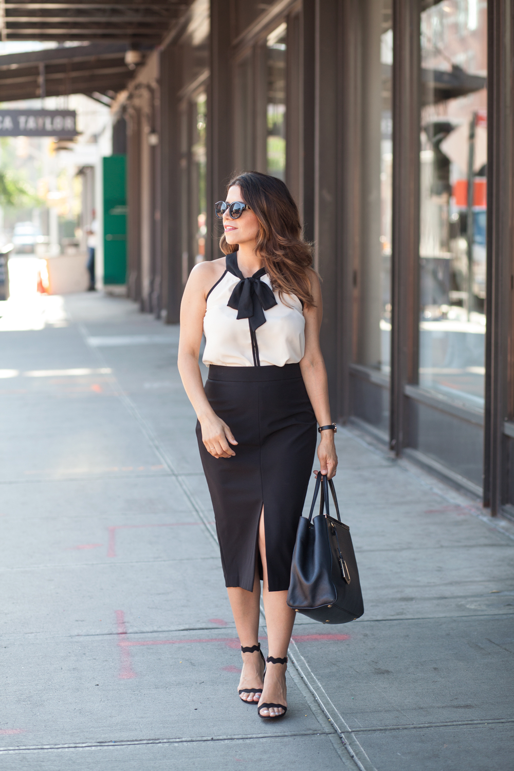 Black-pencil-skirt-neck-tie-bow-blouse-ModCloth-workwear-outfits-scalloped-black-heels-black-fendi-tote-what-to-wear-to-work-corporate-catwalk-nyc-new-york-fashion-blogger-copy2
