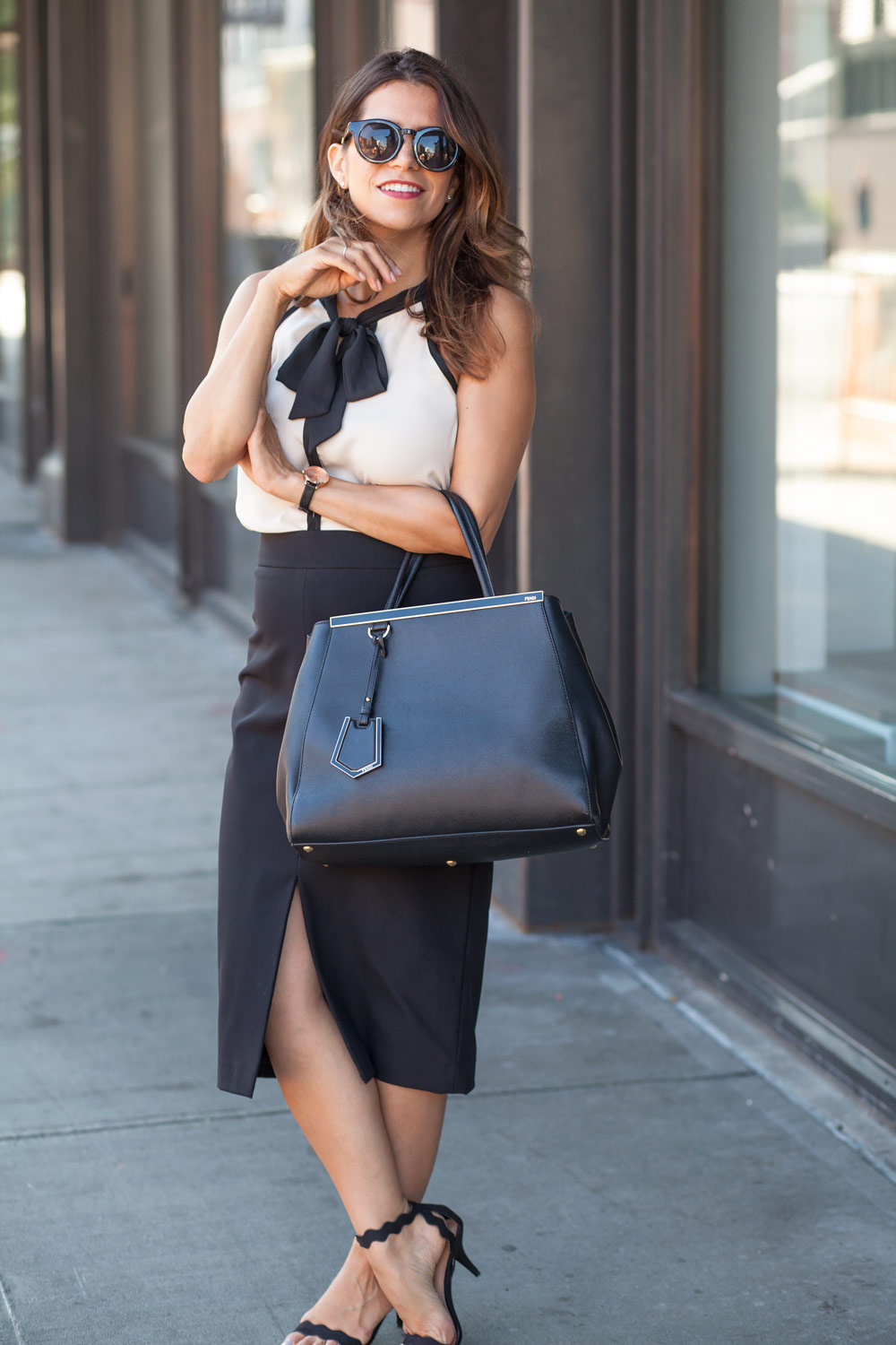 Black-pencil-skirt-neck-tie-bow-blouse-ModCloth-workwear-outfits-scalloped-black-heels-black-fendi-tote-what-to-wear-to-work-corporate-catwalk-nyc-new-york-fashion-blogger-copy5