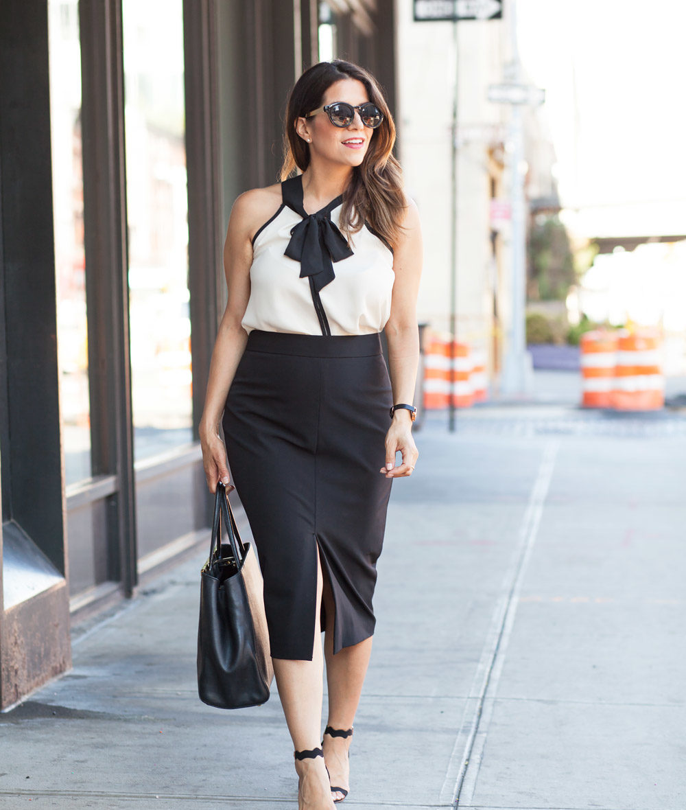Black pencil skirt neck tie bow blouse ModCloth workwear outfits scalloped black heels black fendi tote what to wear to work corporate catwalk nyc new york fashion blogger8