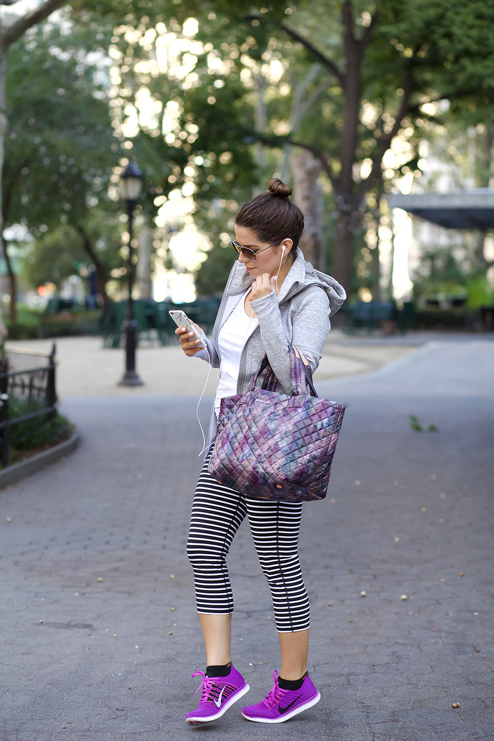 MZ Wallace purple tote black crossbody gym bags workng out after work nike athlta workout clothes workwear corporate catwalk6