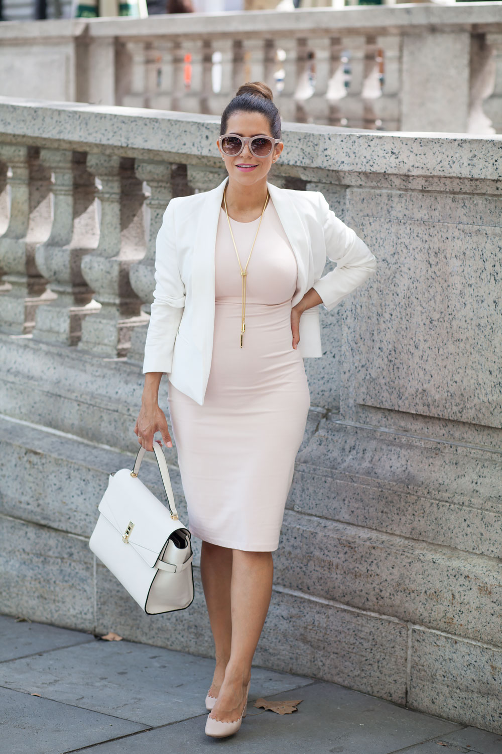 Pink dress white blazer henri bendel tote pink chloe heels what to wear to work workwear maternity style corporate catwalk nyc new york fashion