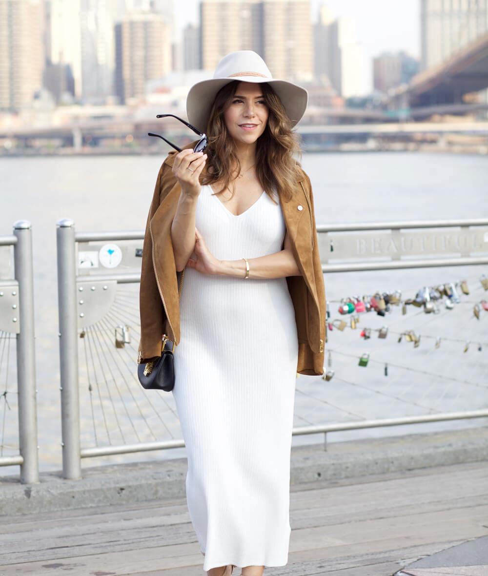 HM faux suede jacket white ribbed dress wedge heels chloe drew bag rag and bone hat dumbo nyc blogger corporate catwalk