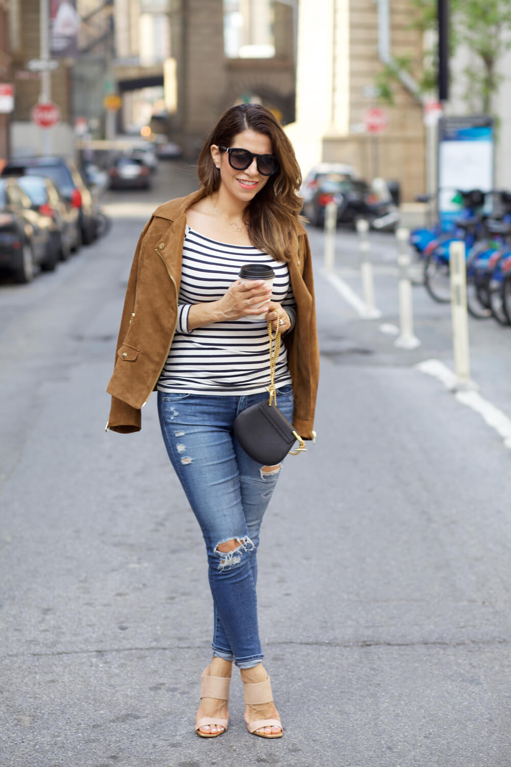 hm faux suede jacket fall outfit stripe off shoulder top ag denim fall outfit ideas corporate catwalk dumbo