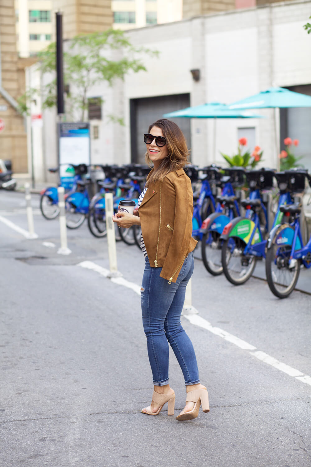 d8b98c9877 hm faux suede jacket fall outfit stripe off shoulder top ag denim fall  outfit ideas corporate