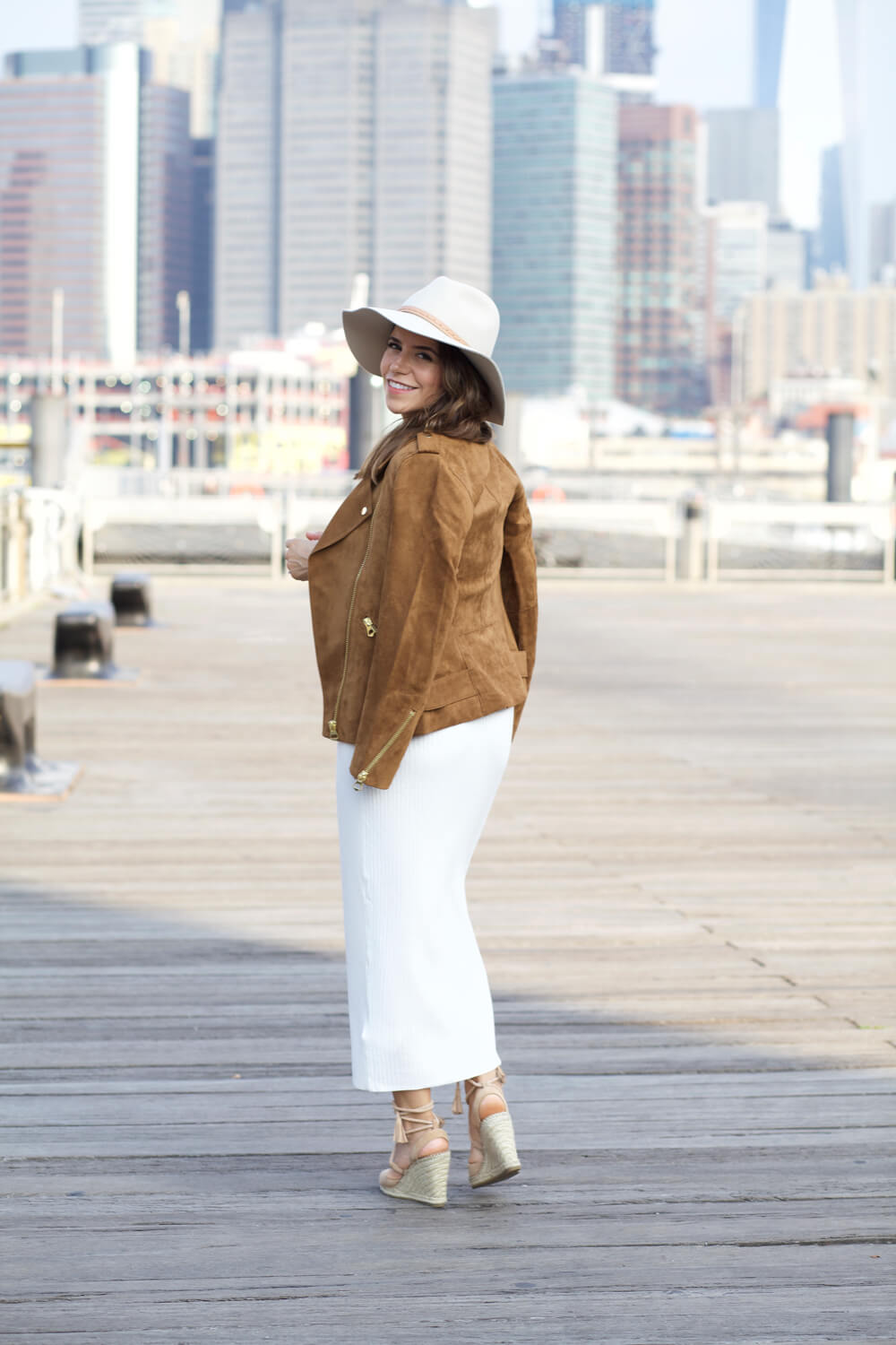 HM faux suede jacket white ribbed dress wedge heels chloe drew bag rag and bone hat dumbo nyc blogger corporate catwalk