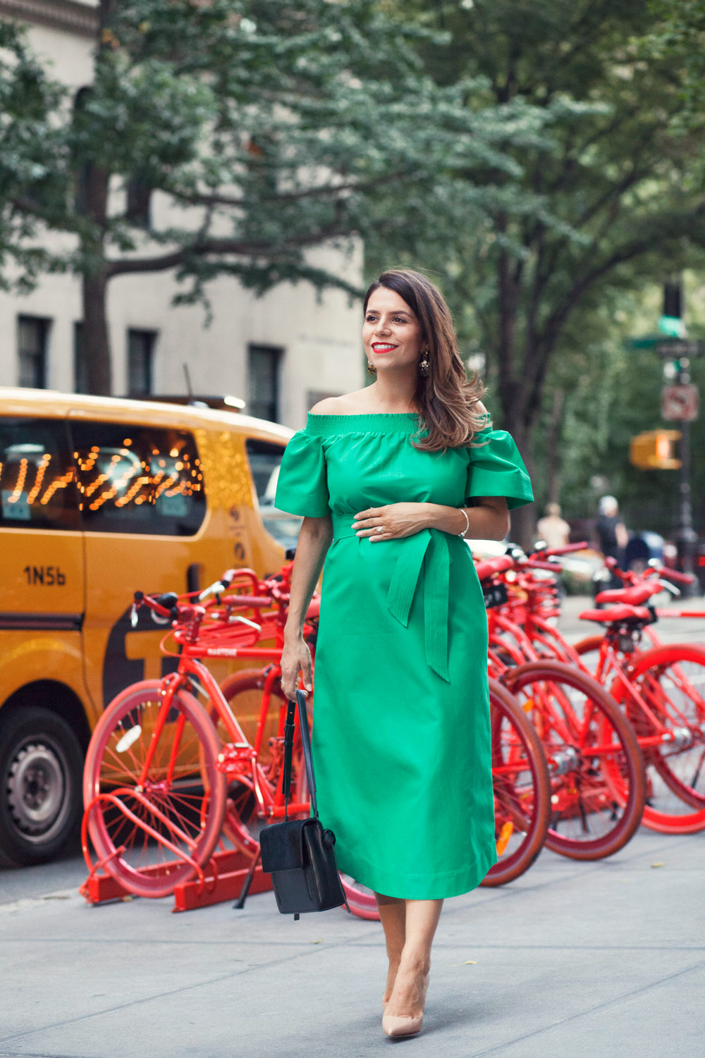jcrew green off the shoulder dress emerald green summer outfit worth new york city fashion blogger NYC corporate catwalk nude heels outfit ideas 1