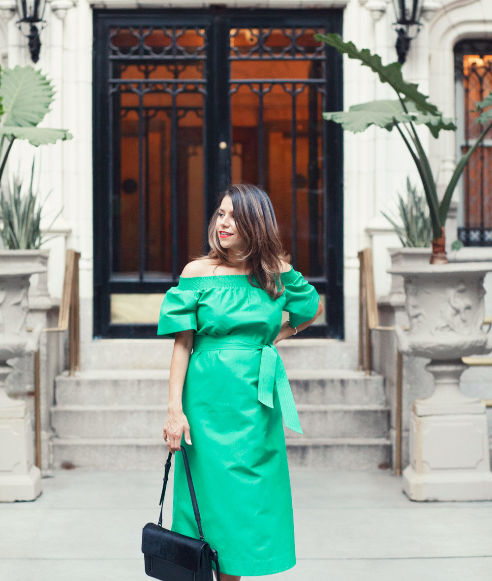 jcrew green off the shoulder dress emerald green summer outfit worth new york city fashion blogger NYC corporate catwalk nude heels outfit ideas 4