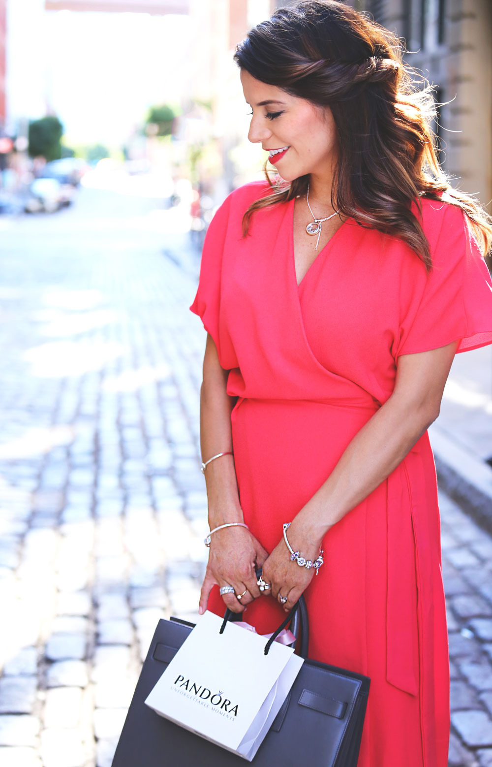 bright coral topshop wrap dress nude christian louboutin pigalle heels pandora jewelry dumbo new york ny fashion blogger corporate catwalk