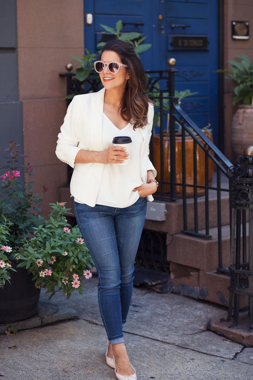 white blazer white cami denim jcrew flats henri bendel olivia sunglasses monday morning coffee break new york city fashion blogger nyc blogger corporate catwalk