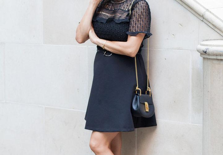 Zara Black Lace Dress Stuart Weitzman Nudiest Black Heels Chloe Nano
