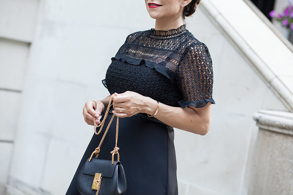 zara black lace dress stuart weitzman nudiest black heels chloe nano mini drew bag henri bendel olivia sunglasses date night outfit nyc new york city fashion blogger corporate catwalk