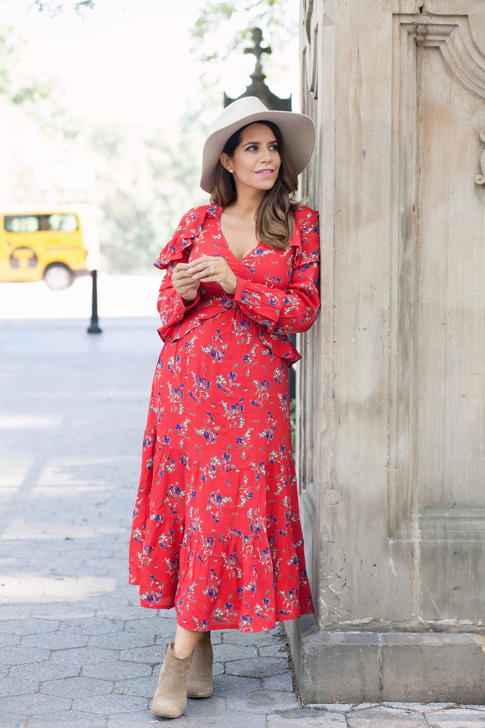 Balancing family and friends busy women Central park red floral dress casual outfit french bulldog fashion blogger lifestyle blogger new york city NYC blogger11