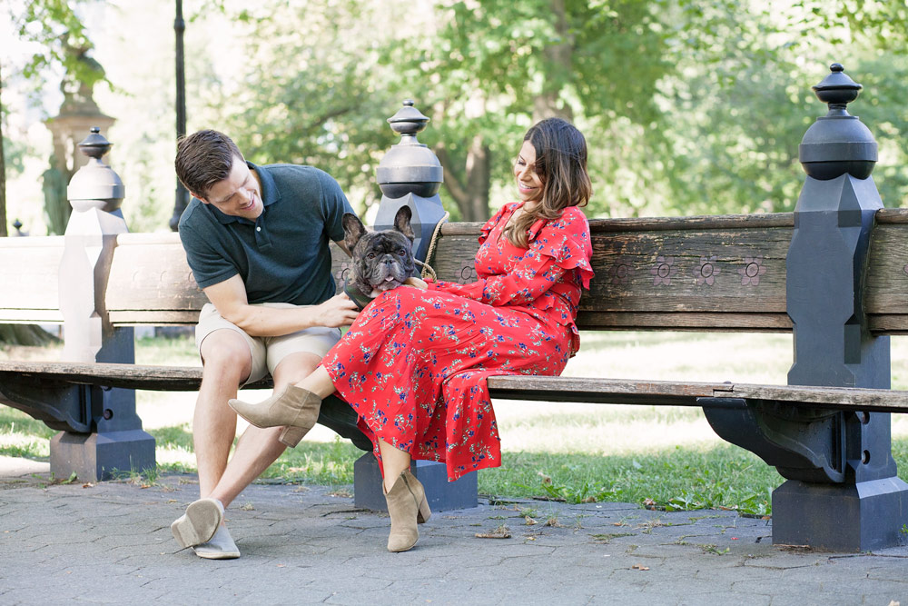 Balancing family and friends busy women Central park red floral dress casual outfit french bulldog fashion blogger lifestyle blogger new york city NYC blogger16