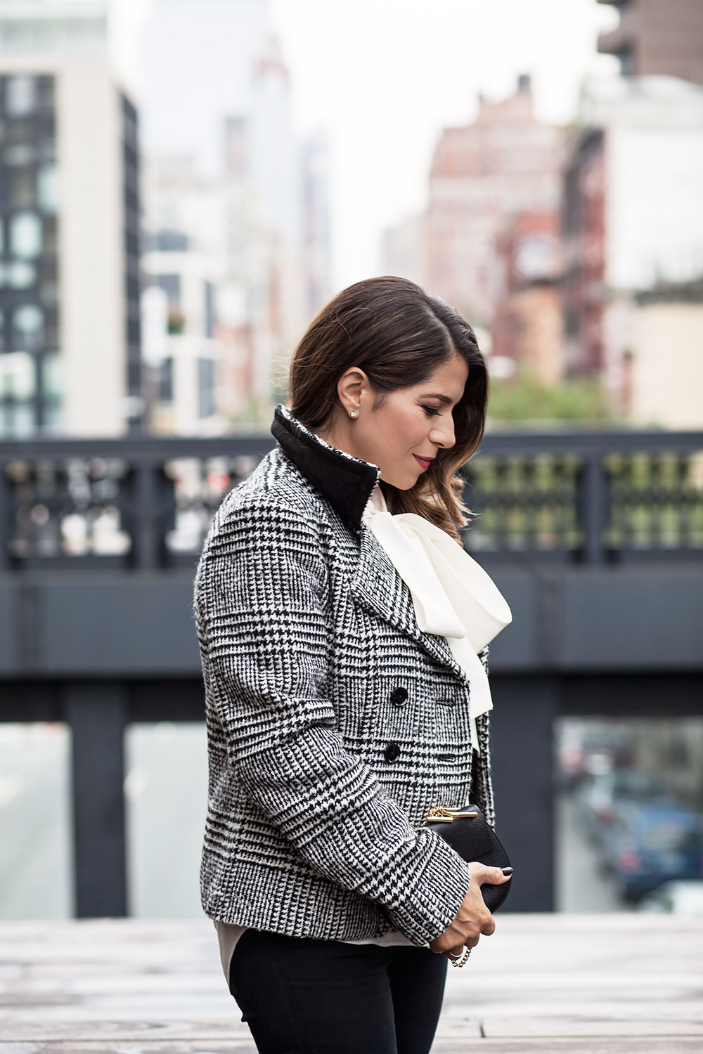 Banana Republic Plaid Coat Kate Spade Bow Blouse Black Denim Maternity Style Valentino Rockstud Flats New York City Fashion Blogger Corproate Catwalk