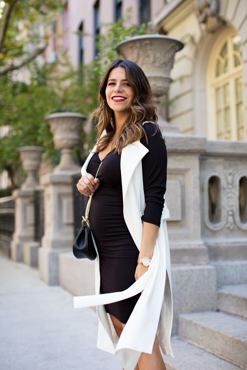 Maternity style nude flats talbots black dress HM white vest nordstrom chloe drew mini nano new york city fashion blogger corporate catwalk what to wear while pregnant nyc maternity style 12